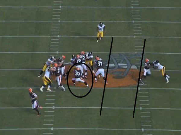 Browns RB Trent Richardson misses a huge hole against the Steelers.